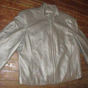 Shimmer Silver Jones NY leather Bomber Jacket 10